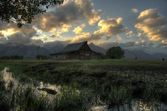 Moulton Barn, Grand Teton National Park HDR (Brandon Kopp) Tags: sunset vacation mountains nature barn landscape nationalpark nikon unitedstates cloudy outdoor moose wyoming grandtetons hdr d300 landscapephotography 18200mm photomatix moultonbarn brandonmkopp