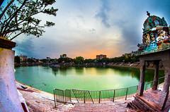 Mylapore Temple Tank (Srini GS) Tags: sunset sky sculpture india art clouds temple nikon tank dusk fisheye chennai hinduism mylapore kapaleeswarartemple rokinon d5100 mychennai