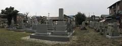 Buddhist cemetery - soldiers graves, Daimyo, too (anthroview) Tags: panorama canons110 stitchedpanorama fukuiken ruraljapan 武生、越前市、915 福井県、 ryusenji zentemple cemetery ohaka bochi daimyo hondatomimasa gorinto 5tier soldiersgraves