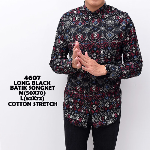 4607 Long Black Batik Songket M,L