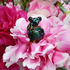 Floral Frog ~ Lampwork Bead (K.R.H. LAMPWORK DESIGNS) Tags: lampwork kathleenrhosterman krhlampworkdesigns bradsstrikingglasscolor bead floral flowers focal frogs pink petals doublehelix beads encased tiny reductionglass strikingglass strikingcolor