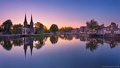 Oostpoort (rh89) Tags: oostpoort east eastern gate delft netherlands holland sunset reflection reflections canal twilight night view water travel europe european urban city sony a7r fe 1635mm 1635 panorama panoramic pano gothic architecture archi buildings building iconic icon tourist long exposure neutral density nd filter filters lee haida calm serene serenity peaceful peace quiet