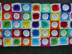 Detail of the first five rows of my 2010 state fair crochet project (crochetbug13) Tags: crochet crocheted crocheting crochetcircles crochetsquares hilbertcurve crochetafghan crochetblanket