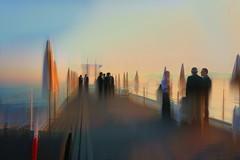 The champions of anachronisms (sara biljana (off)) Tags: people pier standing dusk twilight sea sky parasols light softness perspective