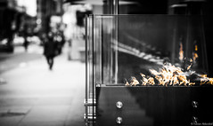 The Fire Within (Fabian_Aldazabal) Tags: fire winter downtown toronto ontario canada structure cold glass contrast mood selective desaturation composition perspective artistic silhouette sidewalk dof monochrome bw city urban conceptual introspection flames shapes geometric abstract framing design