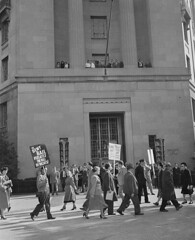 Picket Justice Dept. for release of communist leaders: 1949 (washington_area_spark) Tags: smith act convictions communist party usa eleven demonstration protest rally picket justice department turners arena 1949 leaders overthrow government civil rights congress crc washington dc