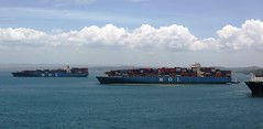 Waiting to transit.  left MOL Magificence, centre MOL Benefactor (Hear and Their) Tags: norwegian pearl panama canal gatun lake