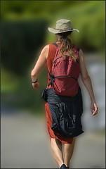 Just Walk Away Renée (swong95765) Tags: heading woman lady girl abyss walking away prepared dressed backpack hat purpose hiking blury bokeh