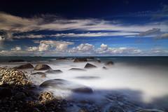 In the shade of the Pohutukawa Tree (angus clyne) Tags: pohutukawa tree long exposure sea coast coromandel blue sky cloud rock bolder bay sun shine light new zealand nz summer