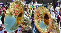 Tuba Shine (BKHagar *Kim*) Tags: bkhagar mardigras neworleans nola parade day route street napoleon uptown people crowd beads throws celebration party tuba base music musical instrument brass tucks kreweoftucks