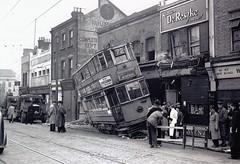 London transport E1  576 Woolwich New Road  1946. (Ledlon89) Tags: london tram woolwich accident crash shops londonse18 1946 trams tramway transport lt lte lptb londontransport londonbus londonbuses vintagelondon vintagetransport alltypesoftransport tramcar police metropolitanpolice