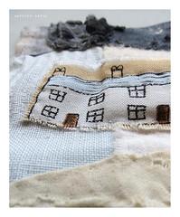 faraway cottages (Carolyn Saxby) Tags: slowcloth stitching sewing grey paleblue darksky black blue cottages runningstitches carolynsaxby textiles