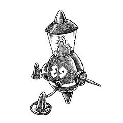 Surveillance unit (Don Moyer) Tags: spaceship ink drawing moleskine notebook moyer donmoyer brushpen