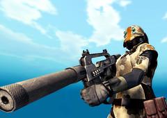 Alliance Navy Standard Issue (Eridanus Industries) Tags: slmc sl second life an alliance navy combat weapon car camo sky military armor scifi science fiction fleet space corps gun automatic rifle