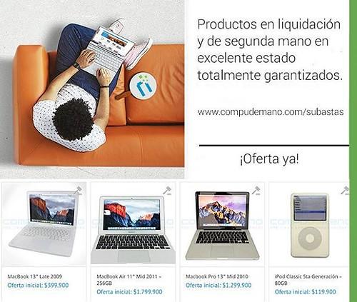 Ingresar ya a www.compudemano.com/subastas y empieza a ofertar por increíbles productos Apple. @compudemano, #cadadiamejor. Visita nuestra tienda o llámanos Bogotá: (1) 381 9922 - Medellín: (4) 204 0707 - Cali (2) 891 2999 - Barranquilla: (5) 316 1300 - P