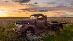 Chevy Sunset (Chris Lakoduk) Tags: chevy chevrolet sunset old truck abandoned farm field out in parked left behind color landscape scenery beautiful hartline wa usa chris lakoduk washington state grant county work vintage classic collectible iconic isolated