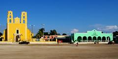 Church and plaza in Acanceh, a small Mayan pueblo.  Yucatan, Mexico. (cbrozek21) Tags: acanceh church plaza streetview pueblo town architecture cayanpueblo colorfulbuildings panorama yucatan mexico pentaxart