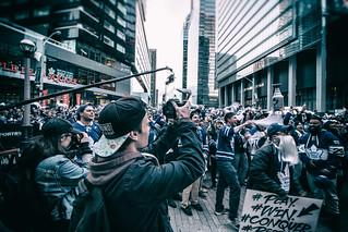 Capturing Leaf fans celebrating @ Maple Leaf Square Game 1 of Stanley Cup Playoffs