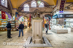 Marble drinking fountain at the Grand Bazaar in Istanbul, Turkey, one of the country's most visited landmarks and oldest public markets. (Remsberg Photos) Tags: istanbul turkey grandbazaar bazaar shopping commerce covered goods forsale products rest break stop water drink marble fountain hydrate tur