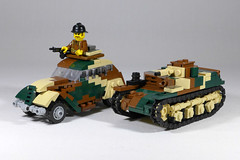 Peugeot 202 and AMR 35 (Rebla) Tags: peugeot 202 lego wwii rebla ww2 world war 2 amr 35 tank