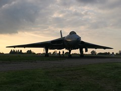 XL426 at twilight (gooey_lewy) Tags: vulcan twilight delta rolls royce olympus bomber v force xl426 southend airport restoration trust phone grab tle timeline time line events charter shoot plane aircraft jet royal air nuclear deterrent sun set crew silhouette sky orange