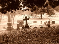 Rest in Peace (Hannah Underhill) Tags: abstract blur cemetery sepia religious cross memphis eerie uploaded:by=flickrmobile flickriosapp:filter=nofilter