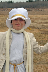 Boy angel costume (talenawinters) Tags: white angel scarf gold costume sewing thrift tophat modernangel militaryjacket