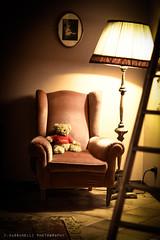 Teddy Bear and Lullaby (Francesco Bassanelli) Tags: light lamp night canon vintage 50mm teddybear armchair bergamo retr
