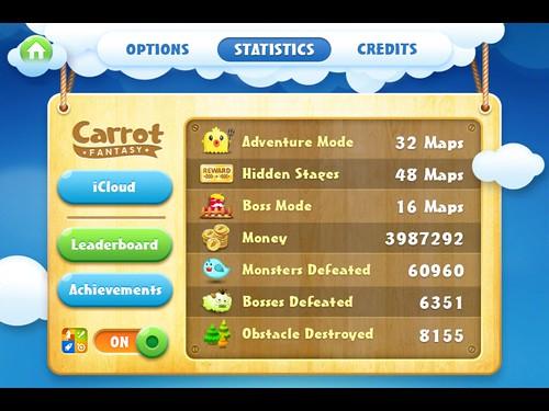 CarrotFantasy Stats: screenshots, UI