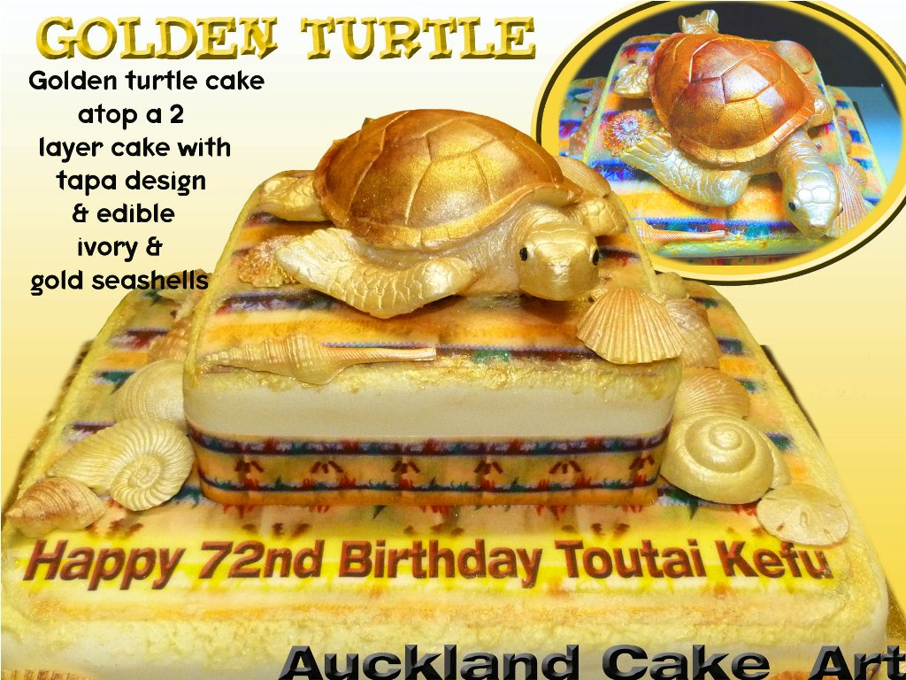 GOLDEN TURTLE TAPA (Anita (Auckland Cake Art)) Tags: birthday new ...