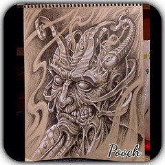 Todays sketch, off the top o' me head...black and grey tattoo anyone??? #demon #monster #trollmarket #devil #ghoul # #pooch_art