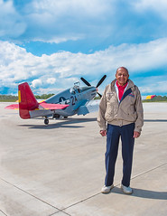 Lt. Col. (ret.) Harold Brown (Swordfish Photo) Tags: world 2 man black plane airplane army war force air olympus corps hero ww2 africanamerican mustang airforce pow caf pilot redtail airfield p51 fighterpilot p51c scbp microfourthirds scbpftw