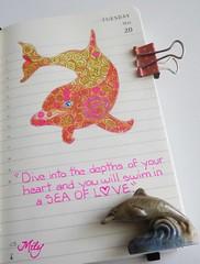 Pink Dolphin (Milagritos9) Tags: portrait dolphin sketchbook pinkdolphin delfín artistjournal illustratedjournal spiritualjournal moleskineartpages cuadernoillustrado moleskinediary2014 dolphinquote