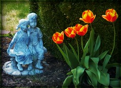 Share the beauty (MissyPenny) Tags: flowers statue garden spring tulips gardendecor southeasternpa bristolpennsylvania
