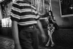 Snapshot_0375 (Huang Qing) Tags: china street city urban blackandwhite bw girl monochrome night candid 28mm streetphotography snap gr ricoh