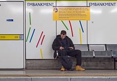 Platform Embankment Station (Panasonic GX7 & mZuiko 45mm F1.8 Prime) (markdbaynham) Tags: street city uk people urban london westminster underground four candid capital tube platform evil panasonic gb third metropolis f18 mirco 45mm embankment csc m43 mft mirrorless gx7 micro43 mzuiko m43rd u43rd digitaldepotcouk digitaldepotstevenage
