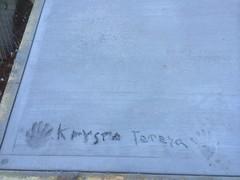 Krysta Teresa (yewenyi) Tags: concrete teresa handprint krysta