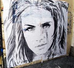 Pasted paper by Konny [Paris 4e] (biphop) Tags: streetart paris france pasteup girl collage wall paper europe wheatpaste pasted mur marais fille konny wheatpaper