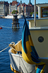 Ship at Skeppsholmen Quay, Stockholm (Fredrik Waara) Tags: lake water docks boat canal dock ship fuji sweden stockholm quay fujifilm sverige kanal swedishflag vatten skeppsholmen stad bt waterway kaj quayside brygga veniceofthenorth flagga skepp xe1 stockholmcity telezoomlens svenskflagga stockholmstad photoshopcs6 nordensvenedig xf55200mm captureoneexpress7 captureoneexpress