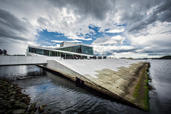 Oslo Opera House, Norway (cpphotofinish) Tags: ocean blue light sky people urban color colour reflection water oslo norway clouds canon outside eos daylight norge photo reflex day foto cloudy outdoor tourist fjord dslr vann oslofjord kaia oslofjorden bilde mk3 turist snhetta canonef bjrvika canonmkiii mklll eos5dmk3 cpphotofinish canonredlable