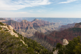 Grand Canyon, Arizona - from Grand Canyon Lodge, North Rim with Deva, Brahma and Zoroaster Temples in a row with - across The Transept - Oza Butte on closest side of Bright Angel Canyon