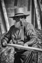 I've Done This Before (James Korringa) Tags: senior hat beard michigan amish worker stanton pipesmoker barnraising