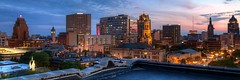 Summer Night City (johndecember) Tags: sunset summer usa home skyline wisconsin office twilight downtown gallery apartment album july condo milwaukee hdr roofview upontheroof mke 2014 easttown 3x1
