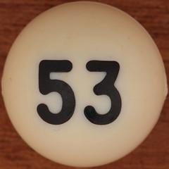 Bingo Ball Number 53 (Leo Reynolds) Tags: xleol30x 53 number numberbingo numberset xsquarex bingo lotto loto houseyhousey housey housiehousie housie squaredcircle sqset109 50s canon eos 40d xx2014xx xxtensxx sqset