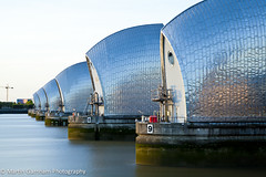 Thames Barrier (Garnham Photography) Tags: city england storm reflection london ecology thames river gate control flood britain dam tide capital greenwich engineering landmark structure safety reflect wharf environment docklands barrier canary curve canarywharf protection riverthames defense tidal prevention defence floodgate ecological movable thamesbarrier