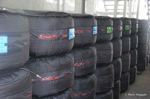 Jenson Button's tyres in the paddock at the 2014 German Grand Prix