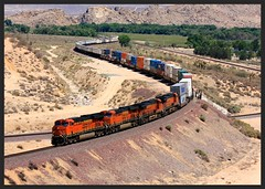 """(At last)...The """"money shot"""" at this location (SemmyTrailer) Tags: california railroad usa electric train frost general railway stack ge bnsf flyover evo"""