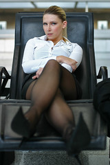 Antonia 39 (The Booted Cat) Tags: sexy blonde model girl nylon nylons pantyhose miniskirt blouse business office highheels heels pumps