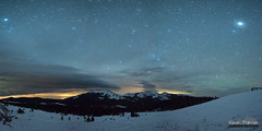 Hesse Mountain Lenticular (kevin-palmer) Tags: march spring nikond750 irix15mmf24 night sky stars starry dark astronomy astrophotography bighornmountains powderriverpass lenticularclouds jupiter planet vega panorama panoramic scorpius hessemountain hazeltonpeak snow snowy cold green wyoming trees spica astrometrydotnet:id=nova2006600 astrometrydotnet:status=failed