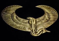 Sheet gold collar depicting the  winged serpent goddess Wadjet found in King Tutankhamun's tomb New Kingdom 18th Dynasty Egypt 1332-1323 BCE (mharrsch) Tags: serpent winged gold pharaoh king ruler tutankhamun burial tomb funerary 18thdynasty newkingdom egypt 14thcenturybce ancient discoveryofkingtut exhibit newyork mharrsch premierexhibits collar